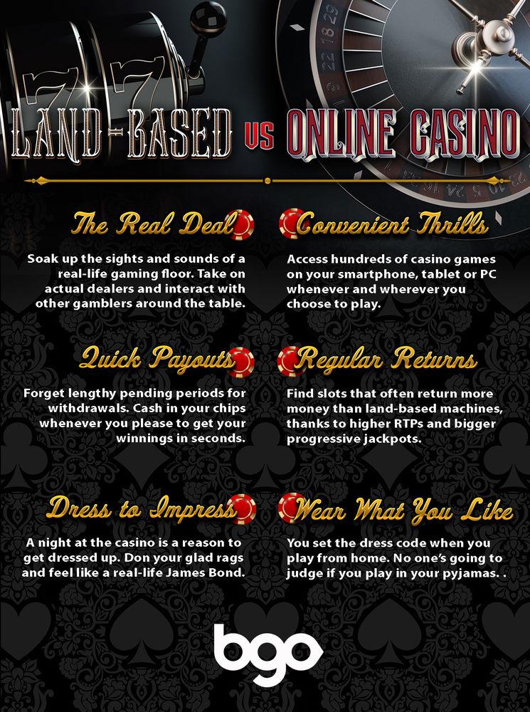 Land Based vs Online Casino infographic